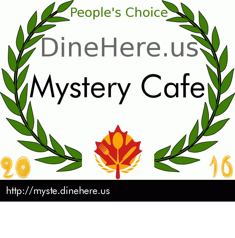 Mystery Cafe DineHere.us 2016 Award Winner
